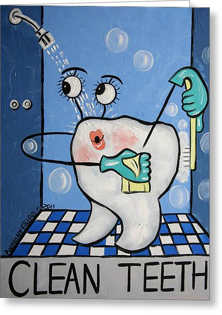 Cubism Greeting Cards - Clean Tooth Greeting Card by Anthony Falbo