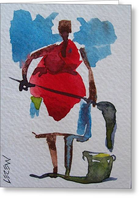 White Gloves Drawings Greeting Cards - Clean Up Lady Greeting Card by Larry Lerew