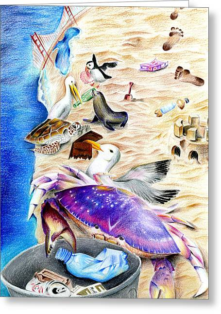 Footprints Drawings Greeting Cards - Cleaner Coastline by Benjamin Tang 6th Grade Greeting Card by California Coastal Commission