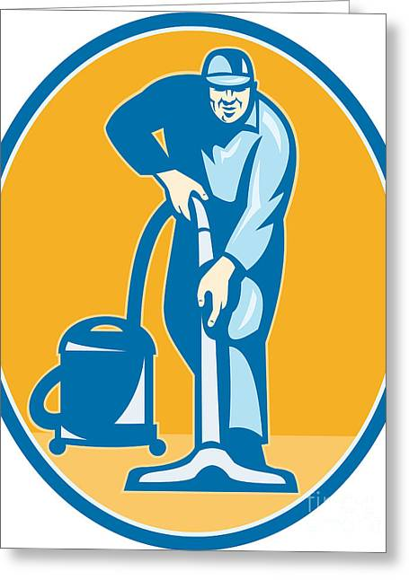 Manual Digital Art Greeting Cards - Cleaner Janitor Worker Vacuum Cleaning Greeting Card by Aloysius Patrimonio