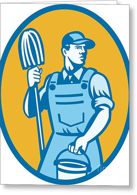 Overalls Greeting Cards - Cleaner Worker With Mop And Pail Greeting Card by Aloysius Patrimonio