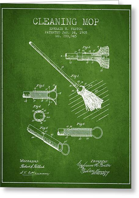 Broom Greeting Cards - Cleaning Mop patent from 1905 - Green Greeting Card by Aged Pixel