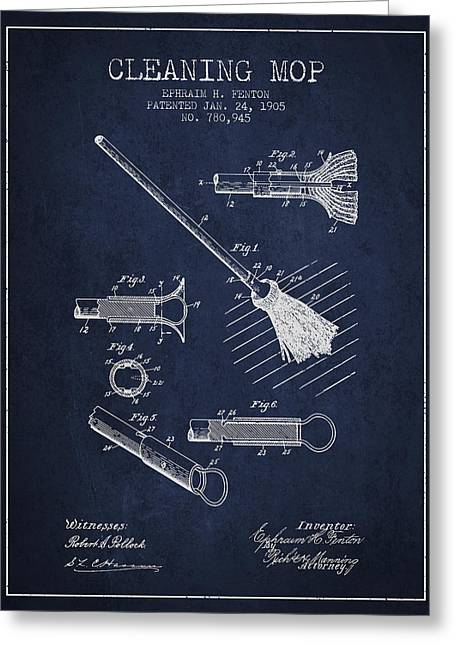 Broom Greeting Cards - Cleaning Mop patent from 1905 - Navy Blue Greeting Card by Aged Pixel