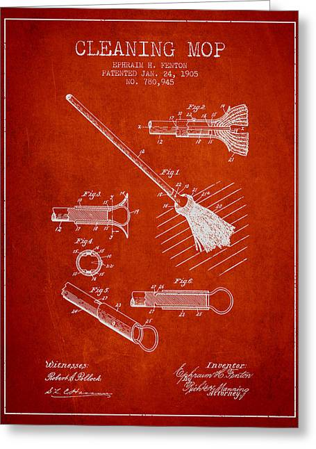 Mop Greeting Cards - Cleaning Mop patent from 1905 - Red Greeting Card by Aged Pixel