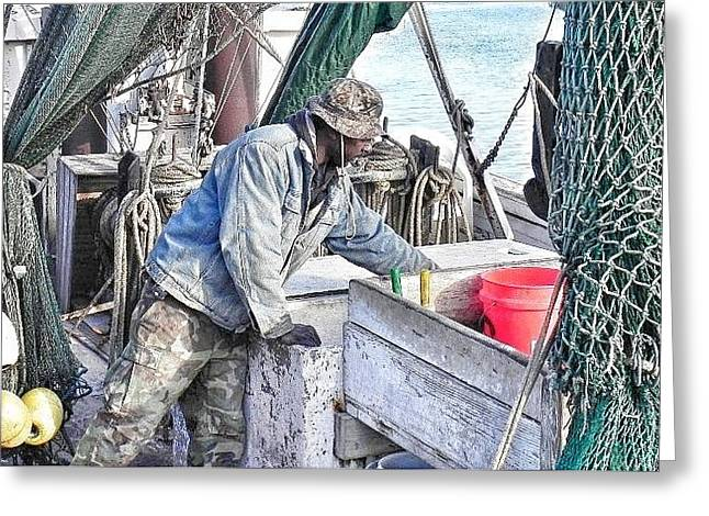 St Helena Island Greeting Cards - Cleaning Up After The Haul Greeting Card by Patricia Greer