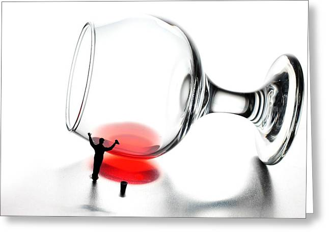 Red Glass Greeting Cards - Cleaning wine cup little people on food Greeting Card by Paul Ge