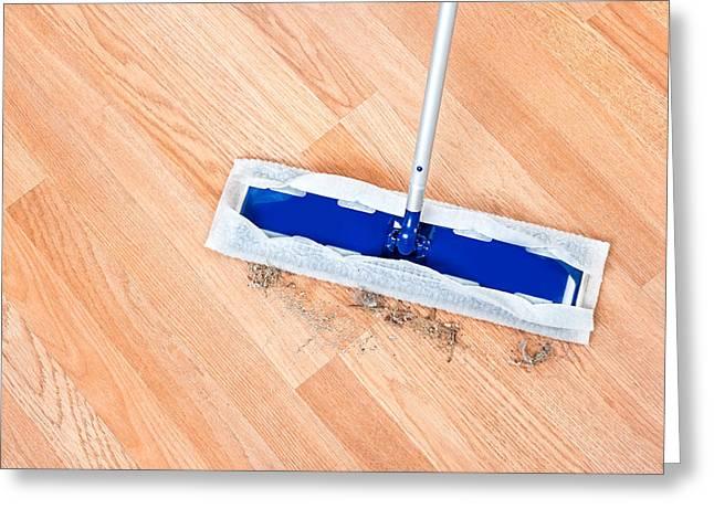 Dander Greeting Cards - Cleaning wooden floor Greeting Card by Joe Belanger