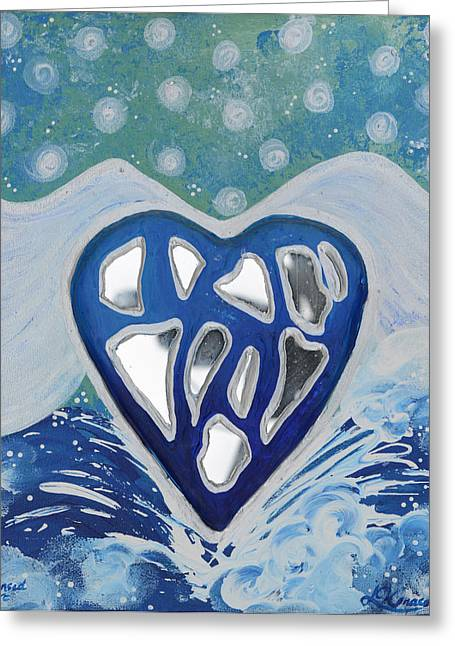 Ocean. Reflection Reliefs Greeting Cards - CLEANSED HEART Best Reflections Energy Collection Greeting Card by Catt Kyriacou