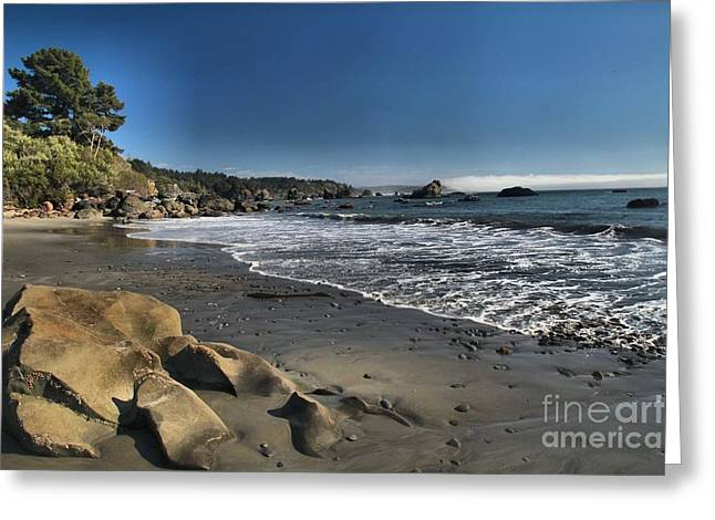 Foggy Beach Greeting Cards - Clear At Trinidad Greeting Card by Adam Jewell