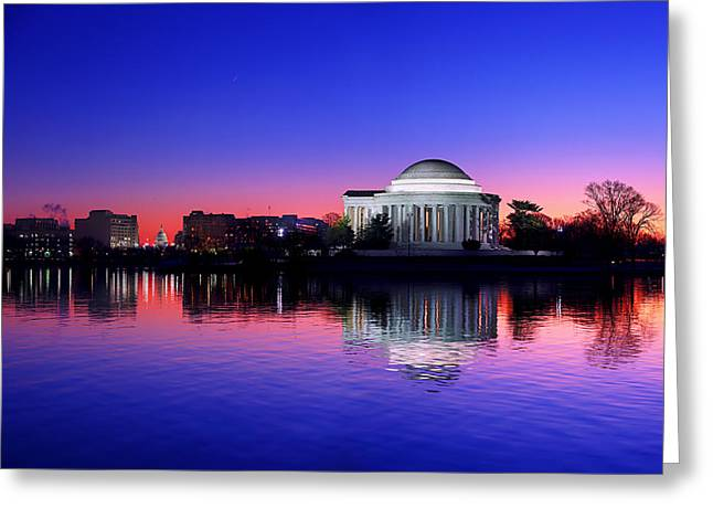 Reflection Photographs Greeting Cards - Clear Blue Morning At The Jefferson Memorial Greeting Card by Metro DC Photography