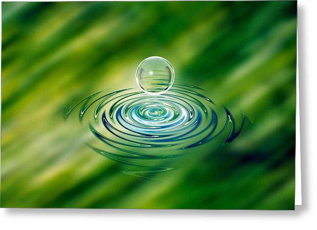 Artistic Photography Greeting Cards - Clear Bubble Rising From Ripples Greeting Card by Panoramic Images