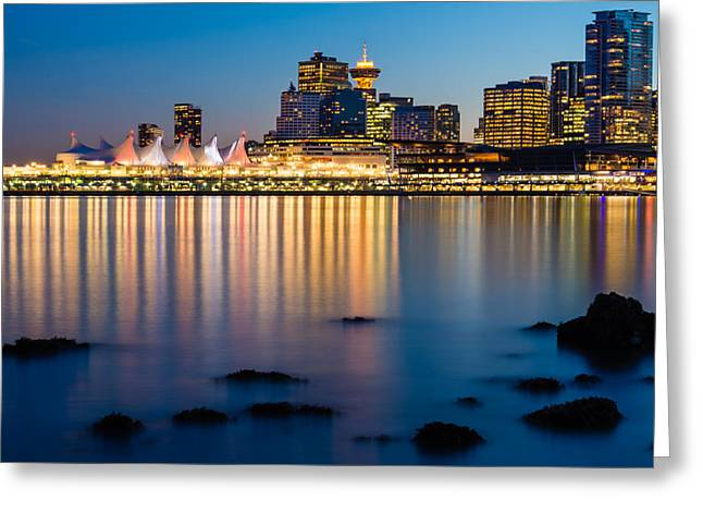 Convention Greeting Cards - Clear Cool Vancouver Night Greeting Card by James Wheeler