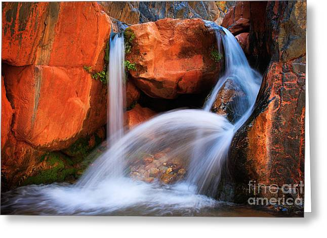 Clear Flowing Stream Greeting Cards - Clear Creek Falls Greeting Card by Inge Johnsson