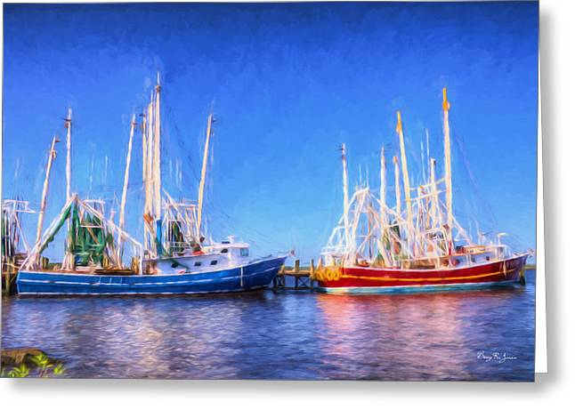 Boats In Water Greeting Cards - Shrimp Boats - Dock - Clear Day in Back Bay Greeting Card by Barry Jones