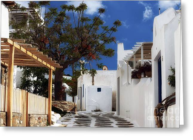 Stone House Greeting Cards - Clear Day in Mykonos Greeting Card by John Rizzuto
