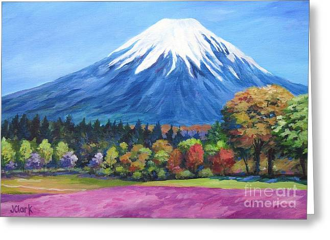 Phlox Greeting Cards - Clear Day Mount Fuji Greeting Card by John Clark