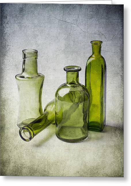 Breakable Greeting Cards - Clear Green Bottles Greeting Card by Garry Gay