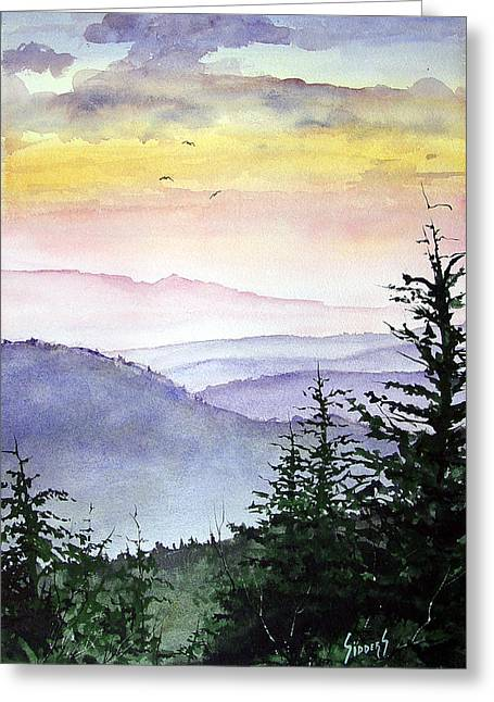 Mountain Trees Greeting Cards - Clear Mountain Morning II Greeting Card by Sam Sidders