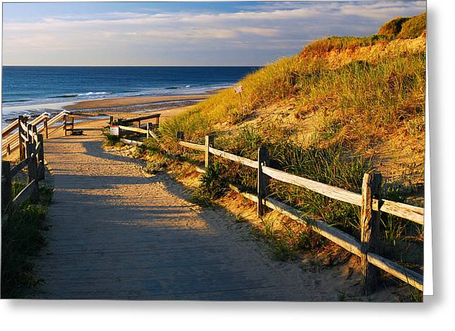 Marconi Beach Greeting Cards - A Path to the Sea Greeting Card by James Kirkikis