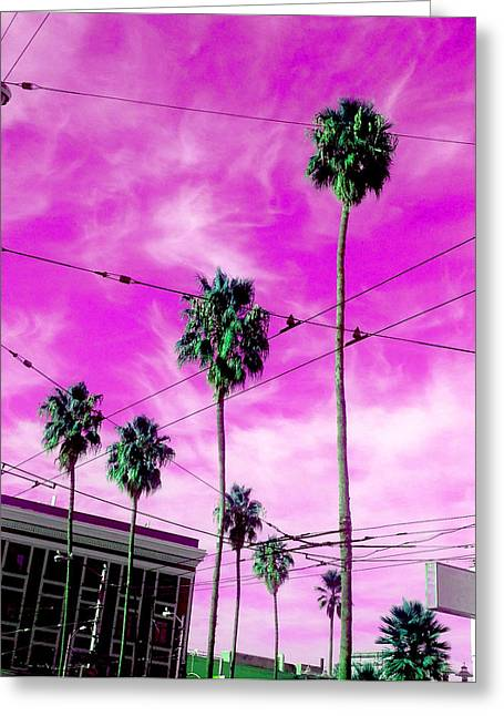 Liberace Greeting Cards - Clear Purple Sky Greeting Card by Del Gaizo
