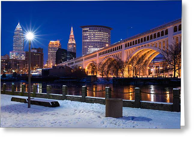 Cuyahoga River Greeting Cards - Clear Sky Cleveland Winter Greeting Card by Clint Buhler