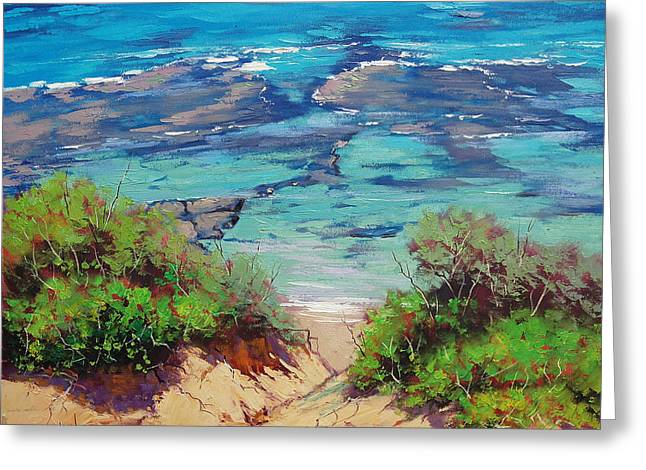 Sand Dunes Paintings Greeting Cards - Clear waters Norah Head Greeting Card by Graham Gercken