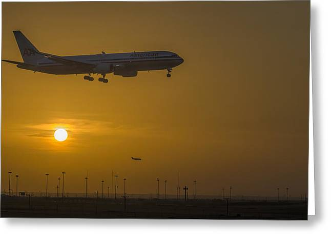 Cleared For Landing Dfw Greeting Card by Joan Carroll