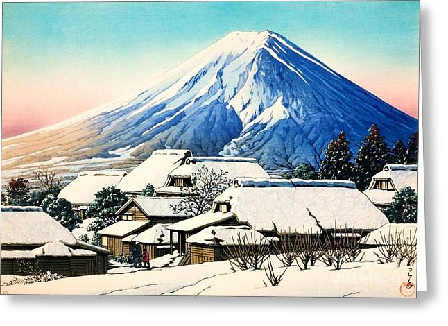 Japan Village Greeting Cards - Clearing after Snowfall Greeting Card by Pg Reproductions
