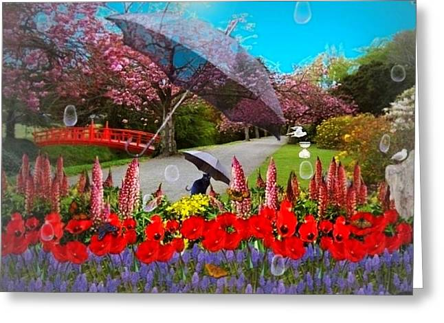 Garden Scene Mixed Media Greeting Cards - Clearing Showers Greeting Card by Nancy Pauling