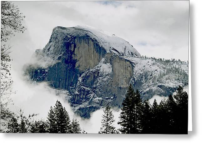 Wintry Photographs Greeting Cards - Clearing Storm Around Half Dome Greeting Card by Bill Gallagher