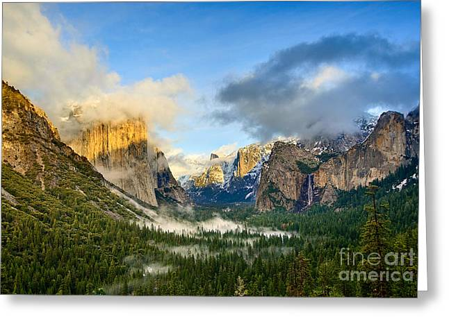 Tunnel View Greeting Cards - Clearing storm - Yosemite National Park from Tunnel View. Greeting Card by Jamie Pham