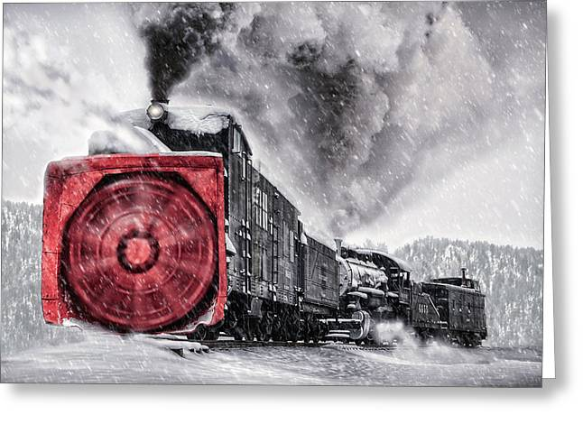 Colorado Railroad Museum Greeting Cards - Clearing the Tracks Greeting Card by Ken Smith