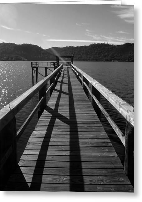 Clean Water Pyrography Greeting Cards - Clearlake Pier Greeting Card by Fabien White
