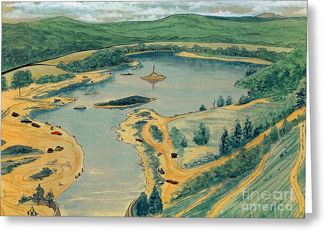 Pen And Ink Illustration Greeting Cards - Clearwater Lake Early Days Greeting Card by Kip DeVore