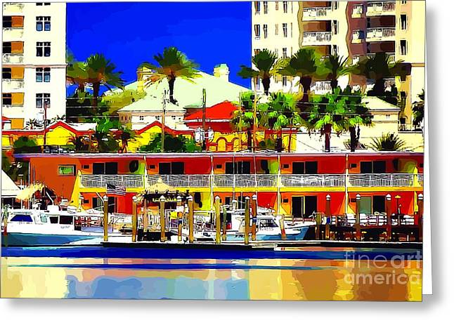 Boats In Harbor Digital Art Greeting Cards - Clearwater Marina Greeting Card by Bonnie Chapa