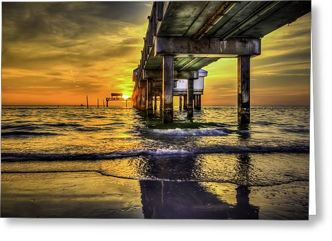Orange Sky Greeting Cards - Clearwater Pier Greeting Card by Marvin Spates