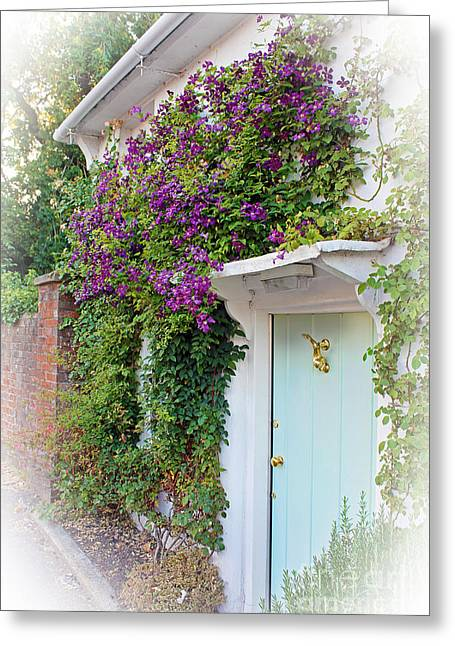 Terri Waters Greeting Cards - Clematis Around The Door Greeting Card by Terri  Waters