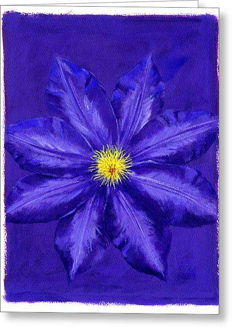 Floral Still Life Greeting Cards - Clematis Greeting Card by Brian James