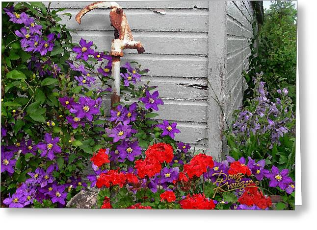 Clematis Cascade Greeting Card by Doug Kreuger
