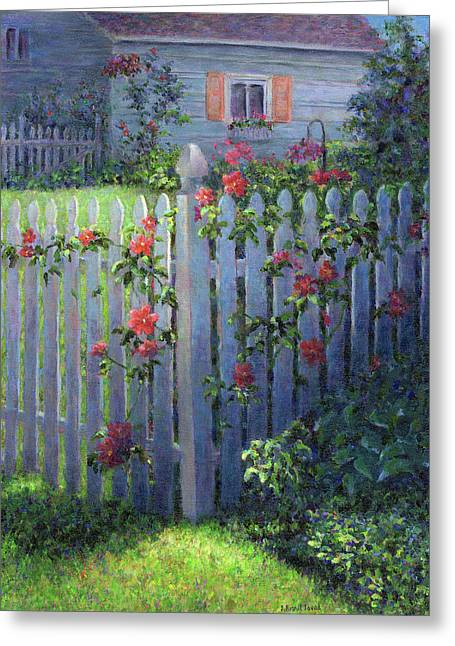Clematis On A Picket Fence Greeting Card by Susan Savad