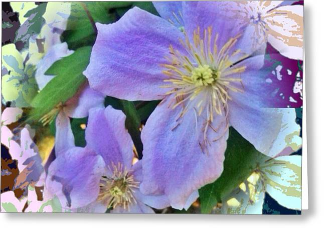 Pacificnorthwest Greeting Cards - Clematis Pop Art Greeting Card by Anna Porter