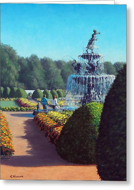 Green And Yellow Greeting Cards - Clemens Gardens Greeting Card by Rick Hansen