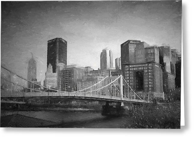 """""""pittsburgh Pirates"""" Digital Greeting Cards - Clemente Bridge Charcoal Look Greeting Card by Stephen Falavolito"""