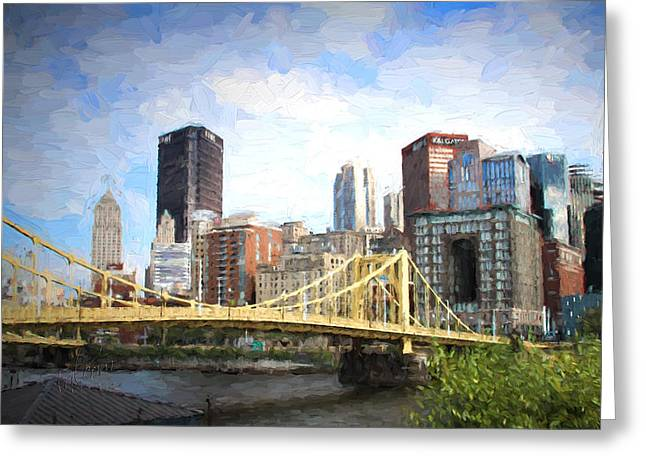 """""""pittsburgh Pirates"""" Digital Greeting Cards - Clemente Bridge Painting Look Greeting Card by Stephen Falavolito"""