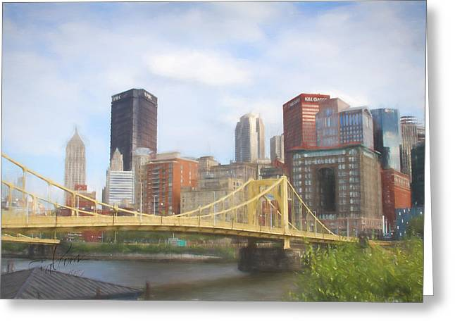 """pittsburgh Pirates"" Digital Greeting Cards - Clemente Bridge Pastel Look Greeting Card by Stephen Falavolito"