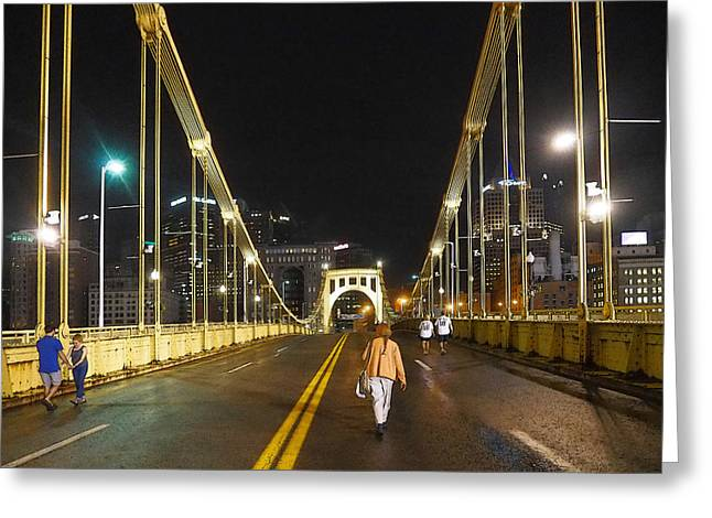 Clemente Greeting Cards - Clemente Bridge Stragglers Greeting Card by C H Apperson