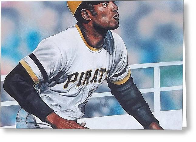 Roberto Clemente Paintings Greeting Cards - Clemente Greeting Card by D A Nuhfer