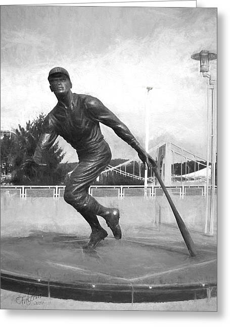 Pnc Park Digital Art Greeting Cards - PNC Clemente Statue Pencil Drawing Look Greeting Card by Stephen Falavolito