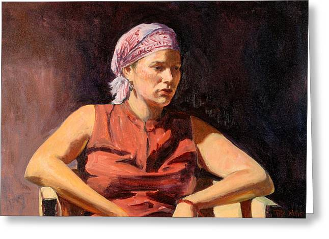 Pensive Greeting Cards - Clementine, 2004 Oil On Canvas Greeting Card by Tilly Willis