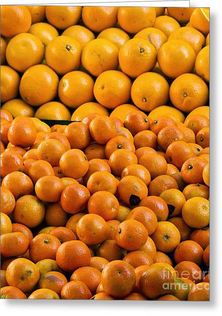 Tangerines Greeting Cards - Clementines And Oranges In Market Greeting Card by Martyn F. Chillmaid